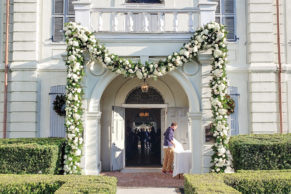 Brooks Nader Wedding Outdoor Floral Garland